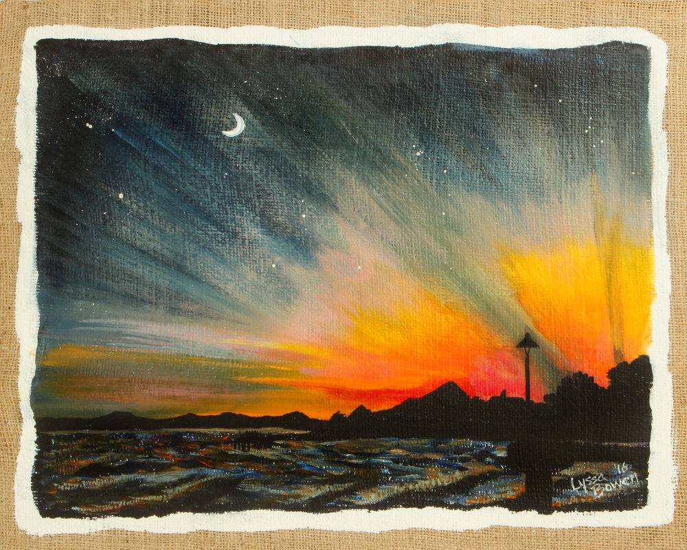 """Cedar Key Sunset"" acrylic on plastered burlap"
