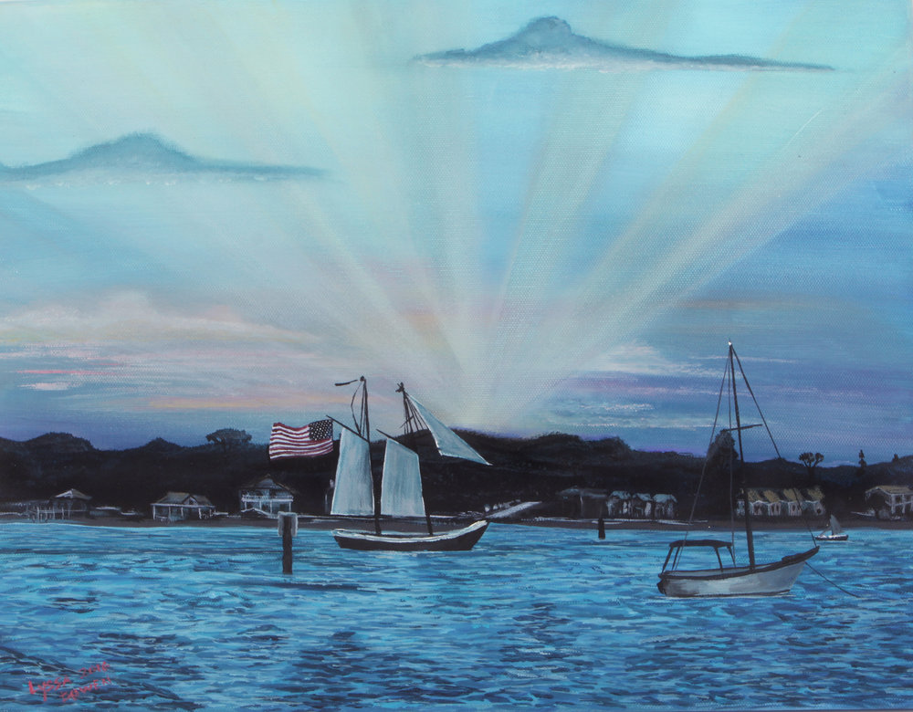 """Strike Sails on the Matanzas""  acrylic on canvas"