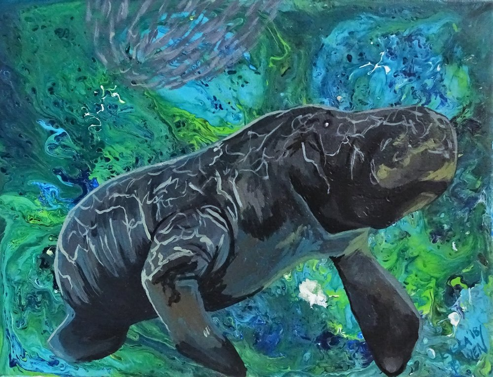"""Pop Manatee""  acrylic pour and acrylic on canvas panel"