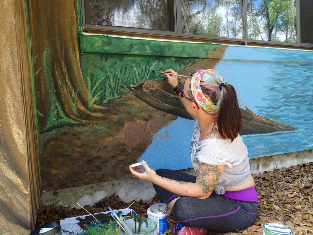 A shot from when I was working on the mural. It is now finished! Please go by the UUF to see it if you get the chance!