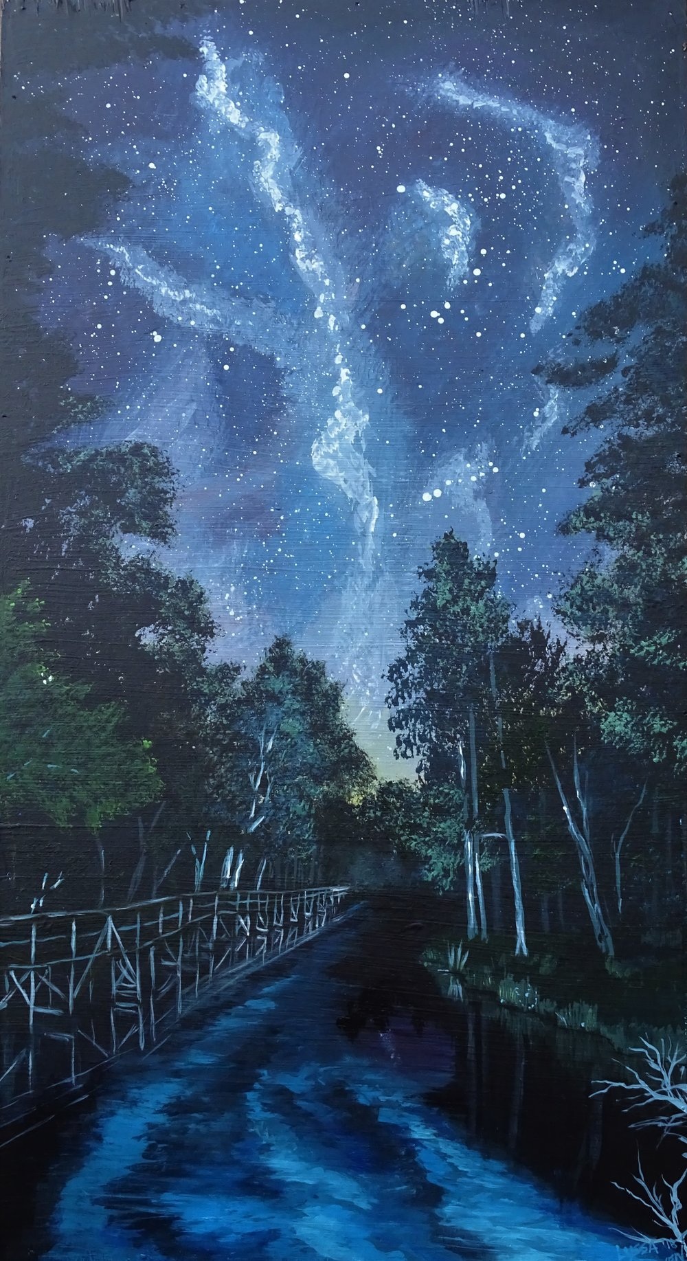 """Stars and Springs"" acrylic on birch panel"