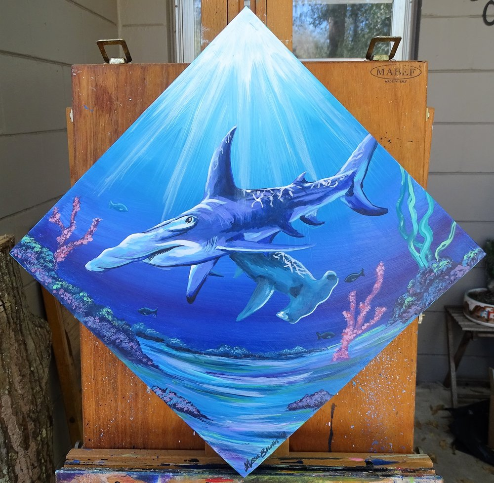 """Hammerheads"" acrylic on wood with a resin finish"
