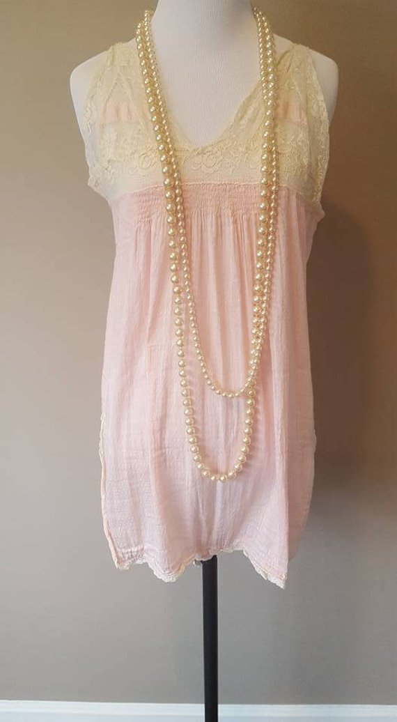 1920's Teddy - Pink Cotton with Aged Ecru Old Lace