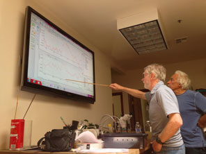 Roger and Joe examining signals for unusual properties