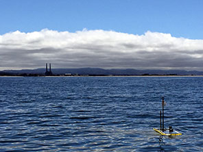 Microscope Wave Glider G5 in front of Moss Landing, right after its CANON launch on 26 May 2015