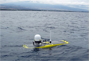 Gimbaled inmarsat synchronous satellite dome on a Wave Glider