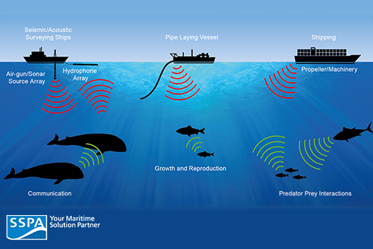 Image 3: An  image by SSPA . A visual representation of anthropogenic noise interference with marine animals.