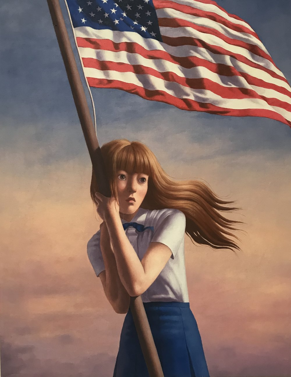 En Hong, Girl with Flag. Oil on canvas; 14 x 18 in.