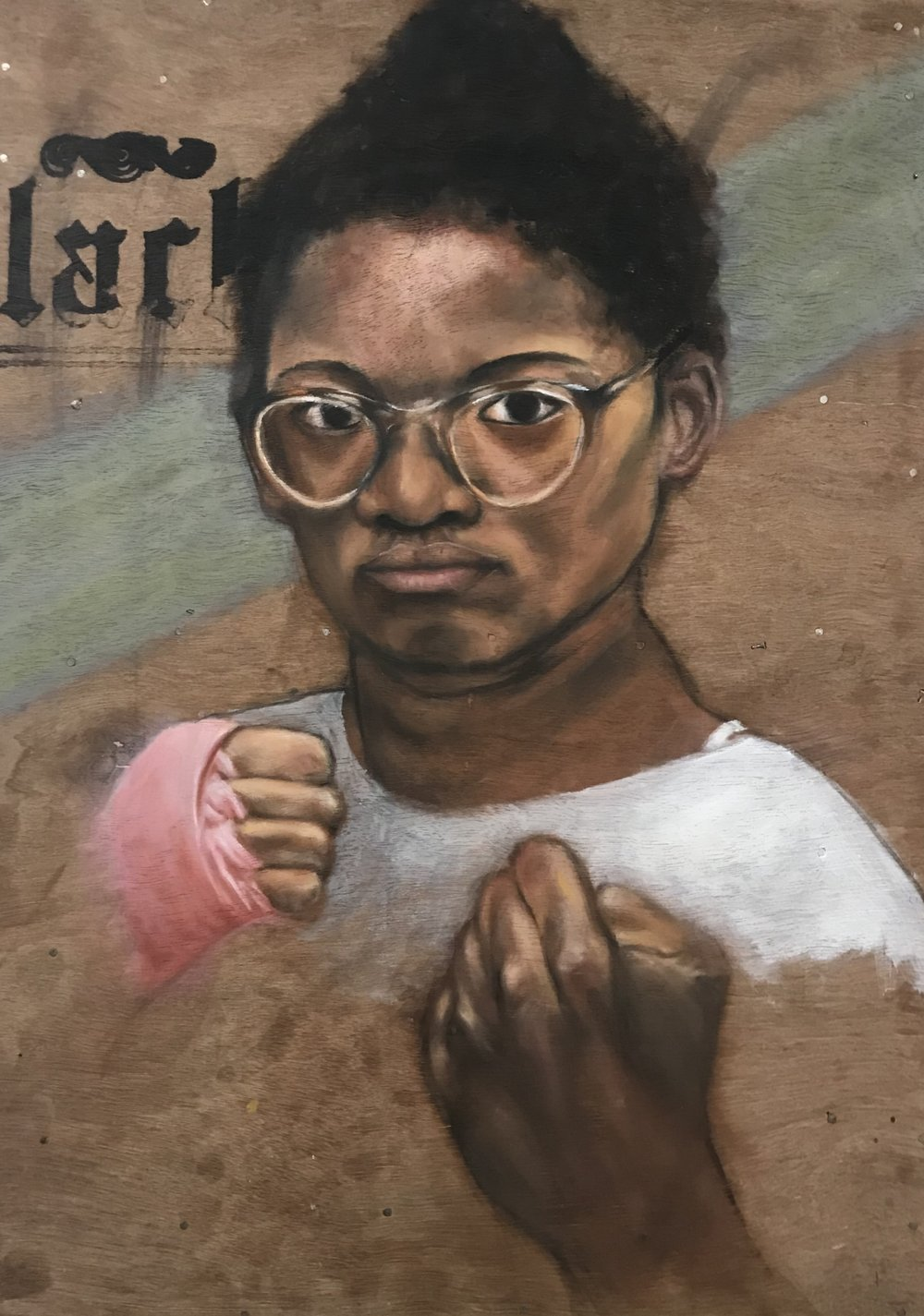 Michael Romero, Five Ring Champion. Oil on wood panel; 19 x 26 in.