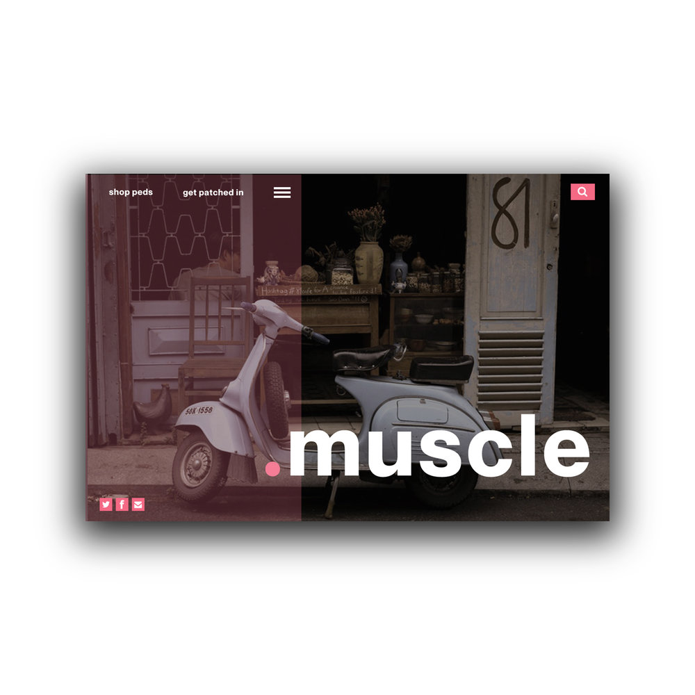 Muscle Mopeds Homepage UI  Tools: Adobe Illustrator, Adobe Photoshop