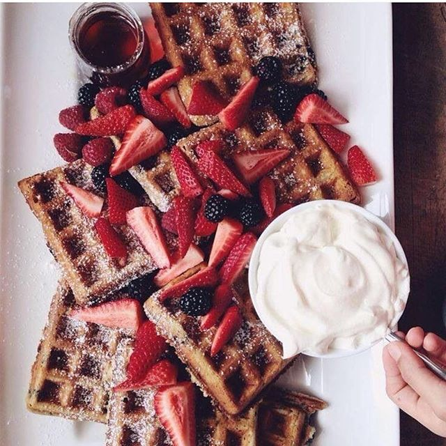 Ummm PSA, it's #nationalwaffleday you're welcome. Photo via @Pinterest #waffle #yum #nom #food #foodporn #breakfast #brunch #carbs #funridesrentals