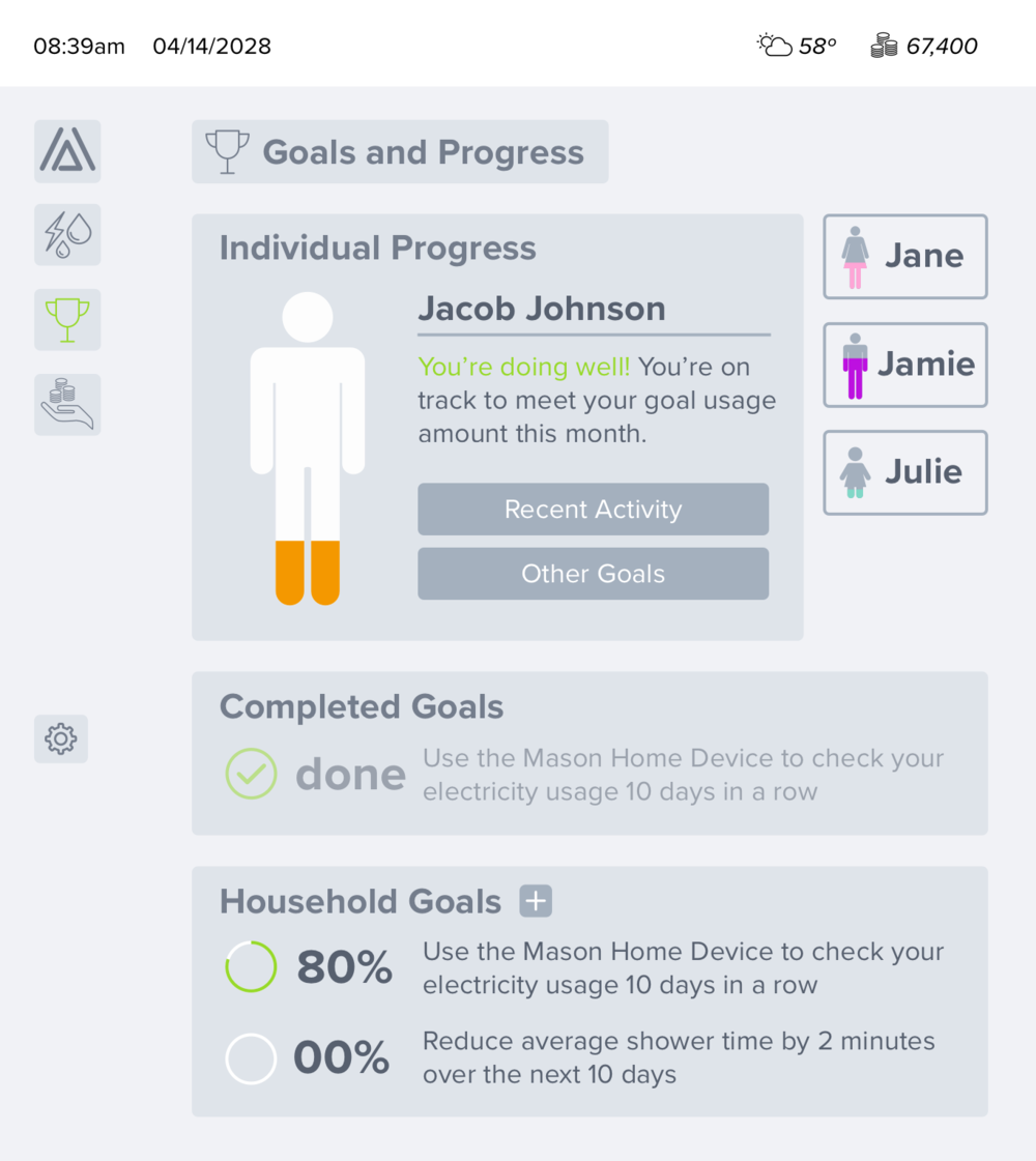 Goals —  The main chart on this screen changed to a visualization of individual usage progress. This is also the only screen where the encouraging messages live. A title was added to the top of the screen and the completed goals are now seprate from the other goals.