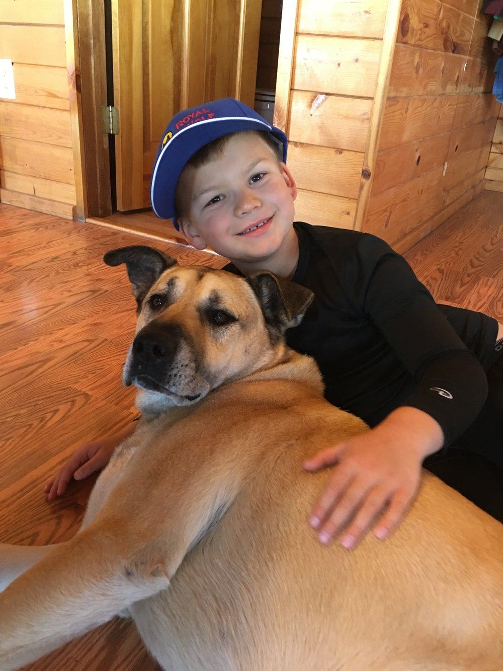 Bear-Dog and his new buddy Luke, 8yo.