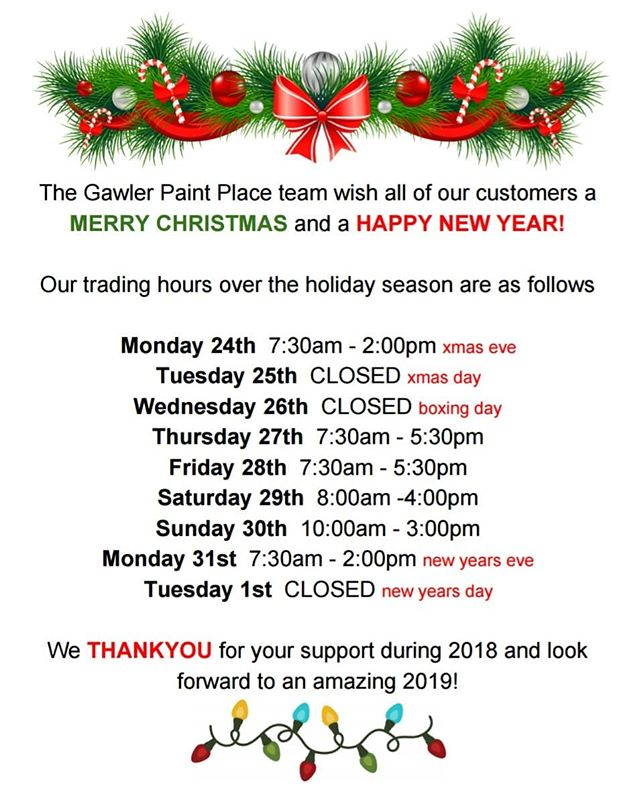 Merry Christmas to all our amazing customers!  Trading hours over Christmas are as follows 🎅