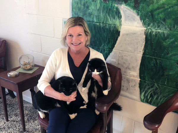 patie leonard, office manager - Patie is the office manager for Animal Care Associates, including Town & Country Veterinary Clinic and Valley Veterinary Clinic. In addition to her three children with Dr. Leonard, she also takes care of the resident clinic cats, Tux and Bingo.
