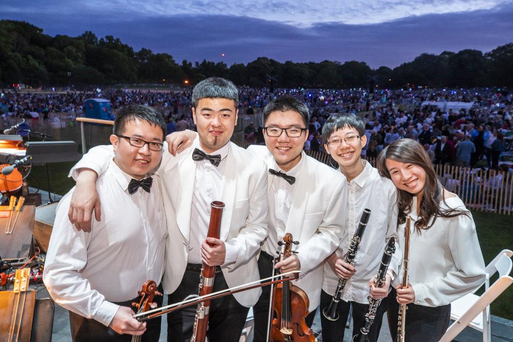 Kuan Liu, Sihong Zhao, Renchao Yu, Yanru Chiu, and Fangyu Huang at the Prospect Park Concert \Credit: Chris Lee