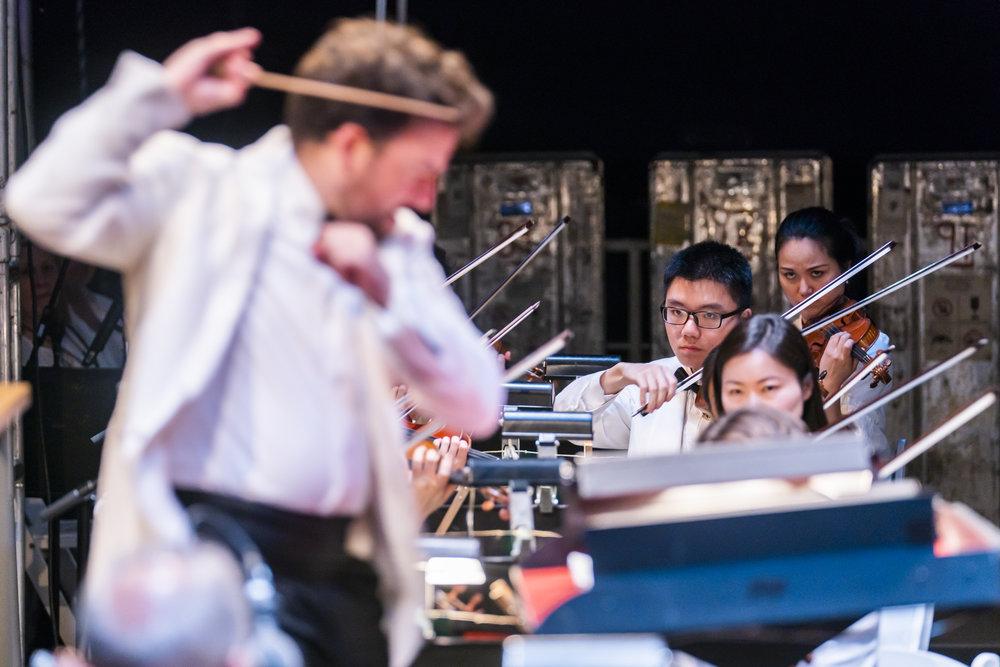 Conductor James Gaffigan and Renchao Yu, violin \Credit: Chris Lee