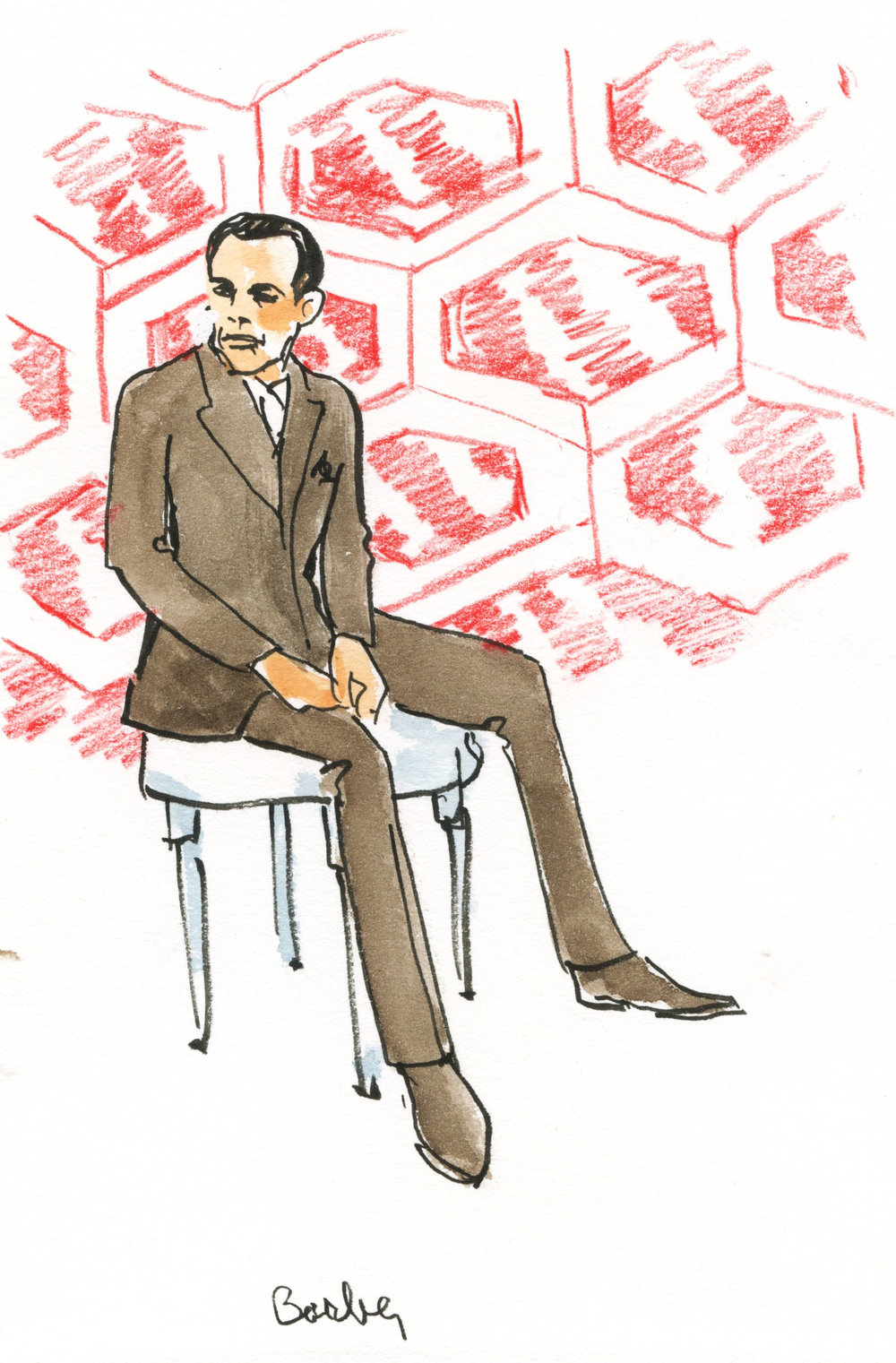 Drawing of Samuel Barber for The Brooklyn Art Song Society by  Joan Chiverton .