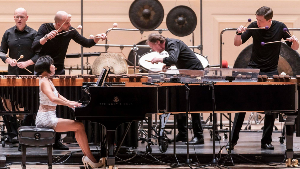 Yuja Wang, Martin Grubinger, Alexander Georgiev, Leonhard Schmidinger, and Martin Grubinger Sr.. Photo credit: Chris Lee