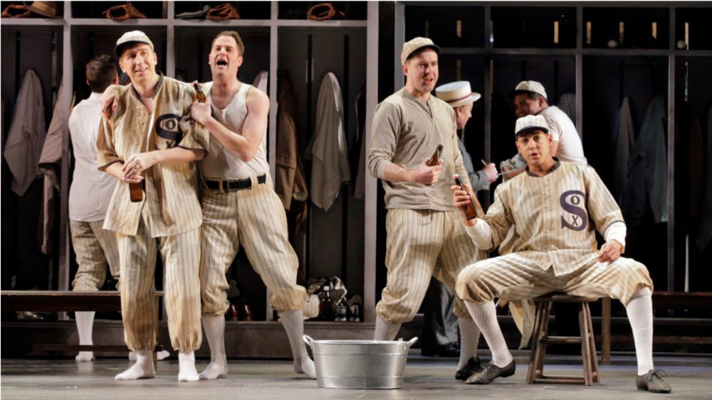 "Joshua Dennis as ""Shoeless"" Joe Jackson, David Walton as Oscar ""Happy"" Felsch, Christian Thurston as George ""Buck"" Weaver and Calvin Griffin as Eddie Cicotte in Minnesota Opera's world premiere of ""The Fix."" (Photo by Cory Weaver)"