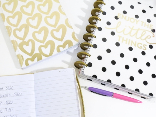 Enjoy the little things, black polka dots, gold writing, pink flowers, notebook w costs listed.jpeg