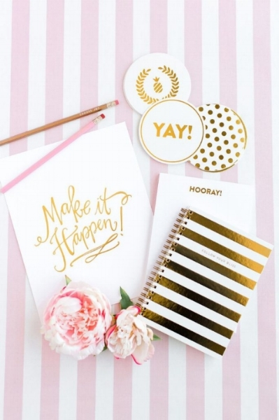 Make It Happen Pink & Gold stipes, flower.jpg
