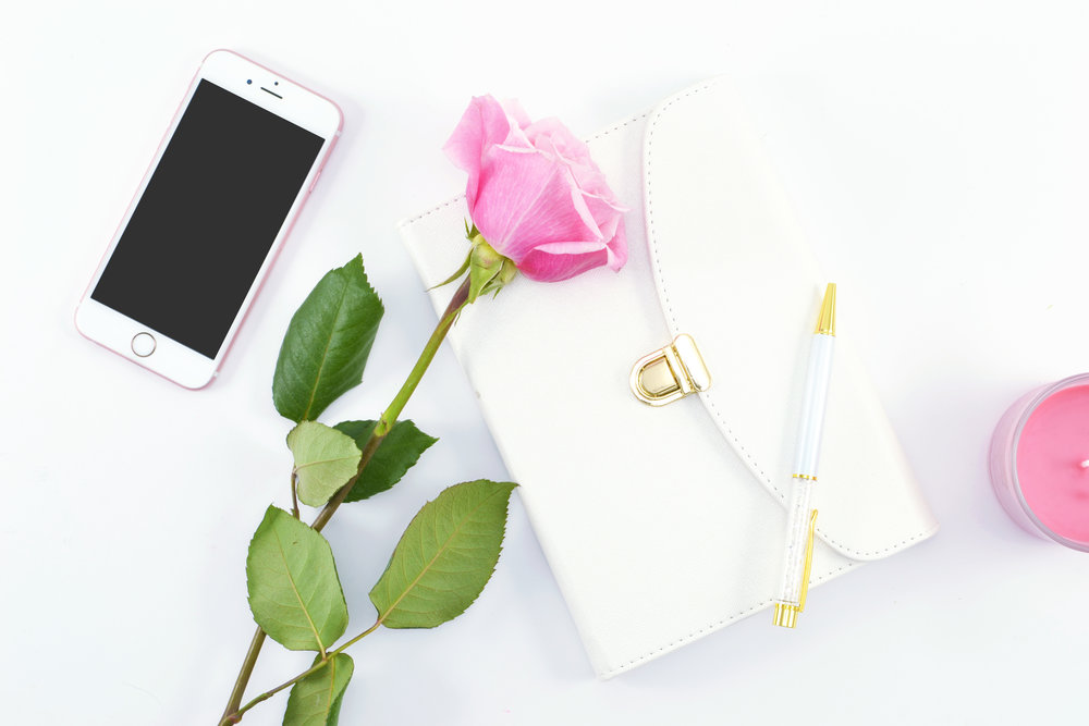 Pink-Roses-White-gold journal, gold pen, pink candle, iPhone.jpg