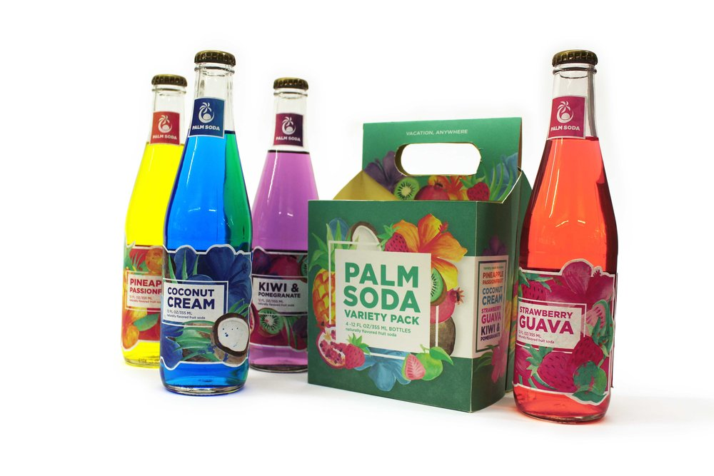 Palm Soda Bottles with 4-Pack