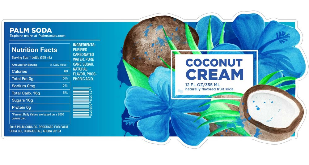 Coconut Cream Palm Soda Label