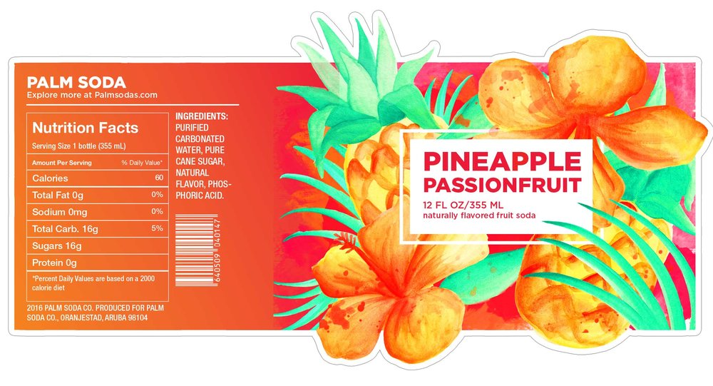 Pineapple Passionfruit Palm Soda Label