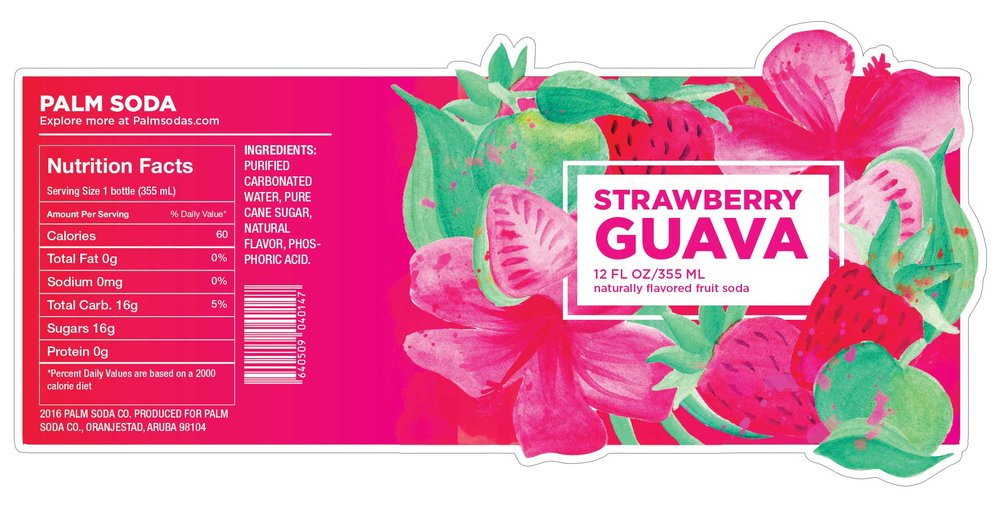 Strawberry Guava Palm Soda Label