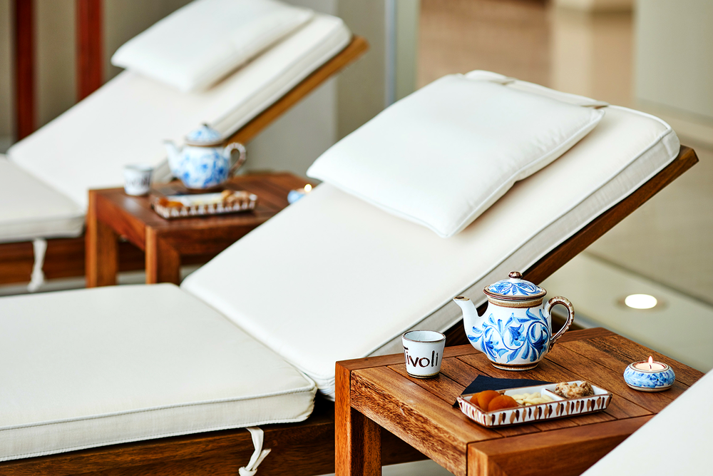Spa guests enjoy tea before or after treatments.