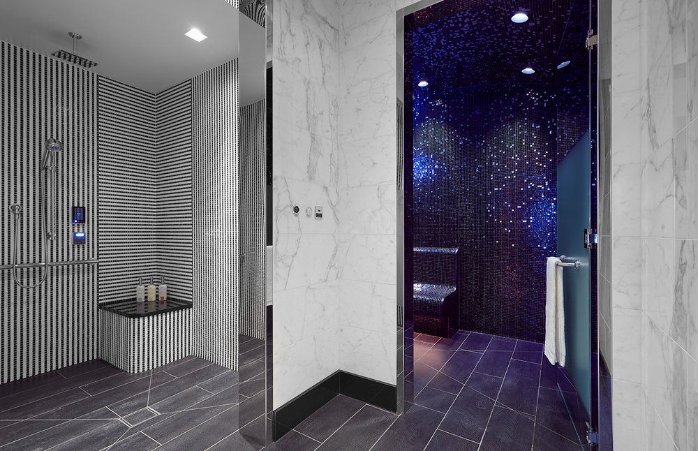 Spa shower at La Prairie Spa at the Waldorf Astoria in Beverly Hills.