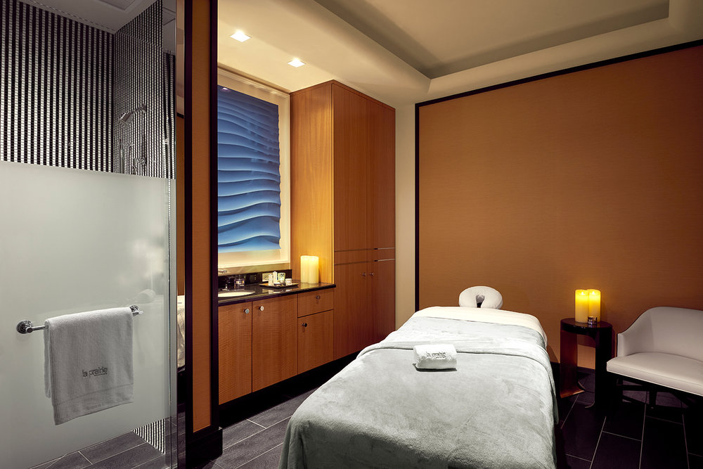 Spa treatment room at La Prairie Spa, Beverly Hills.
