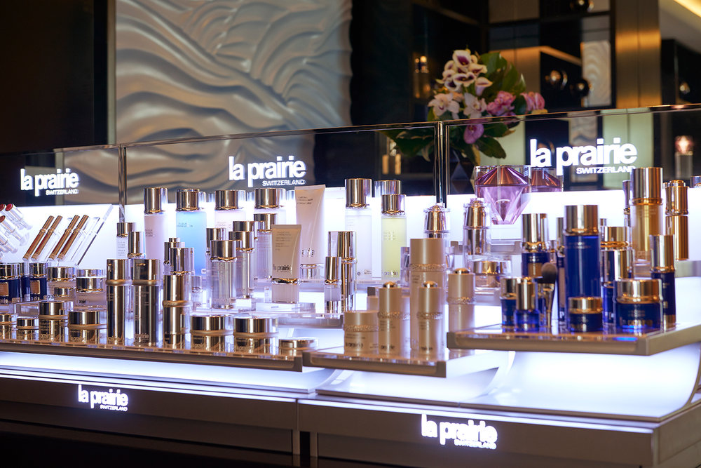 La Prairie product display at the La Prairie Spa at the Waldorf Astoria in Beverly Hills.