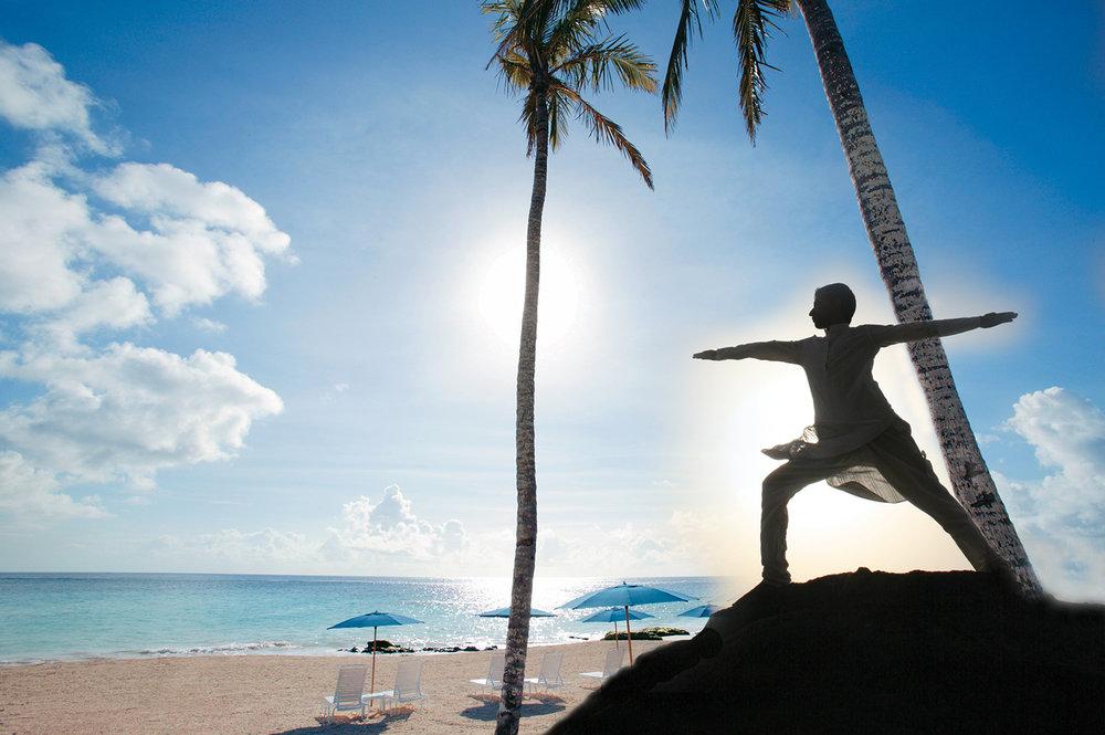Beach yoga at the Mandarin Oriental, Miami