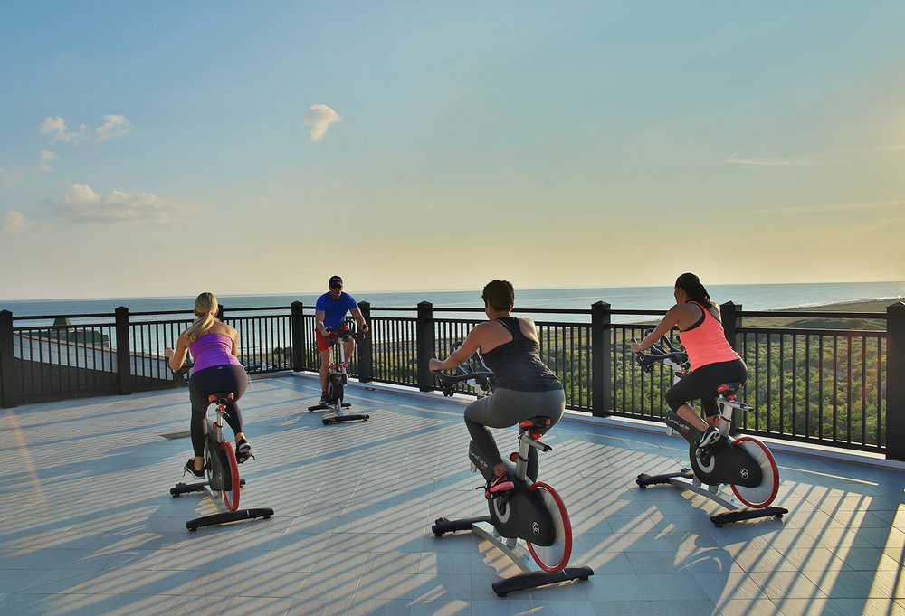 Guest at the Salamander Spa can enjoy wellness experiences including a Rooftop Sunset Spin calss