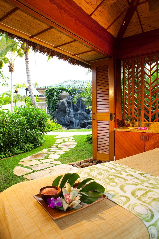 Treatment with a waterfall view at the Anara Spa at the Grand Hyatt Kauai