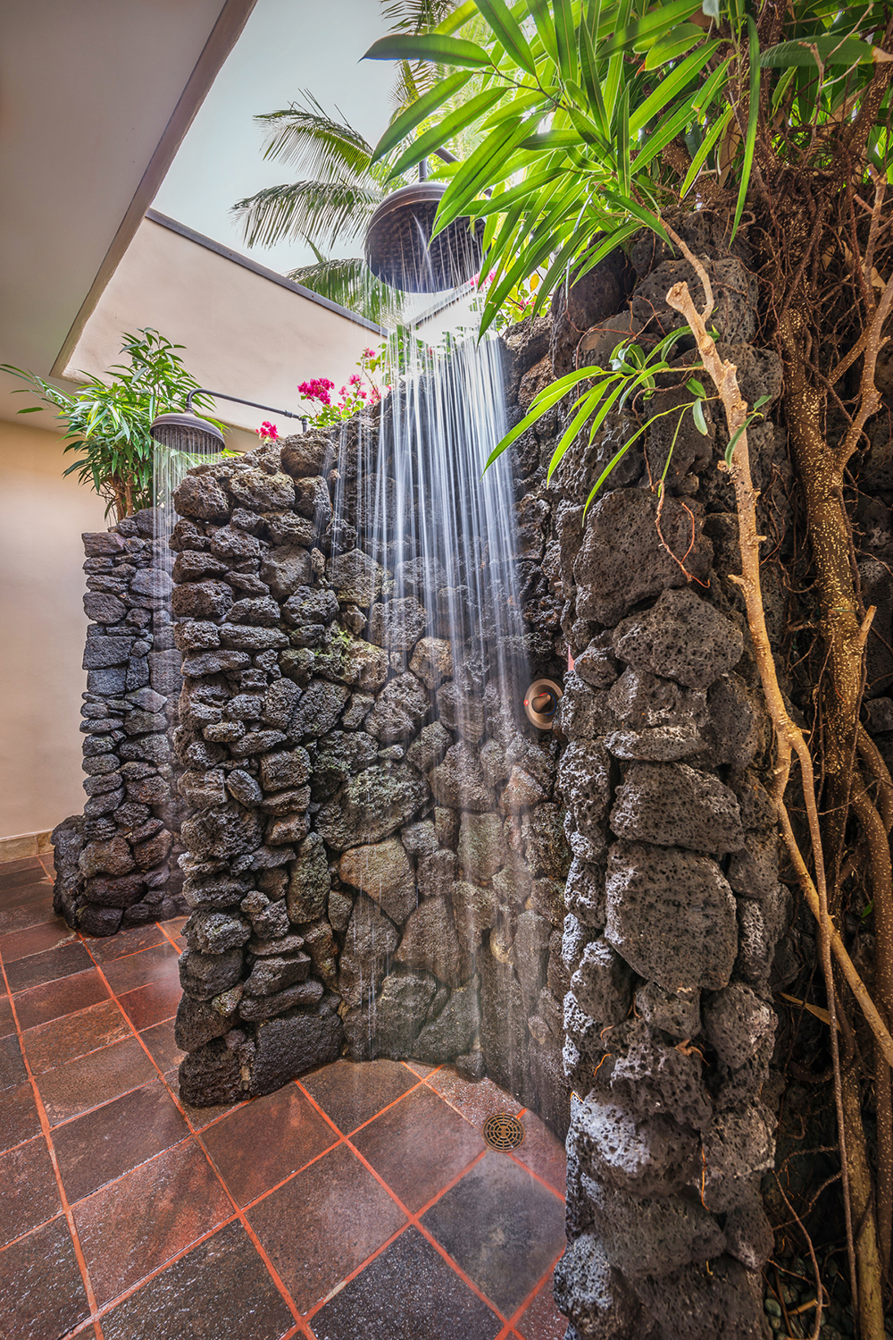Waterfall rock shower at the Anara Spa at the Grand Hyatt Kauai