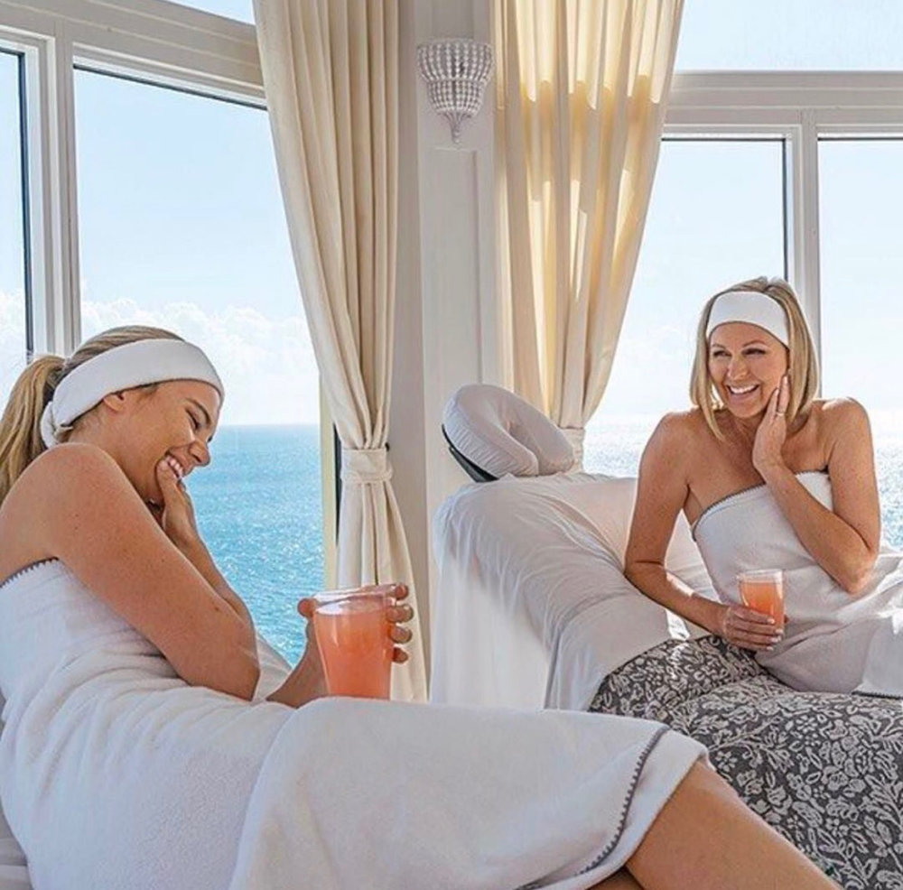 Friends enjoy beverages and treatments at Pure Spa in Ft. Lauderdale
