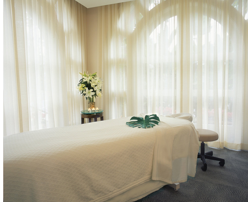 The Beverly Hills Hotel Spa massage room.