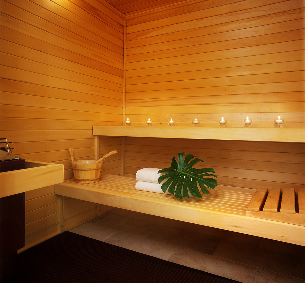 The Beverly Hills Hotel Spa sauna.
