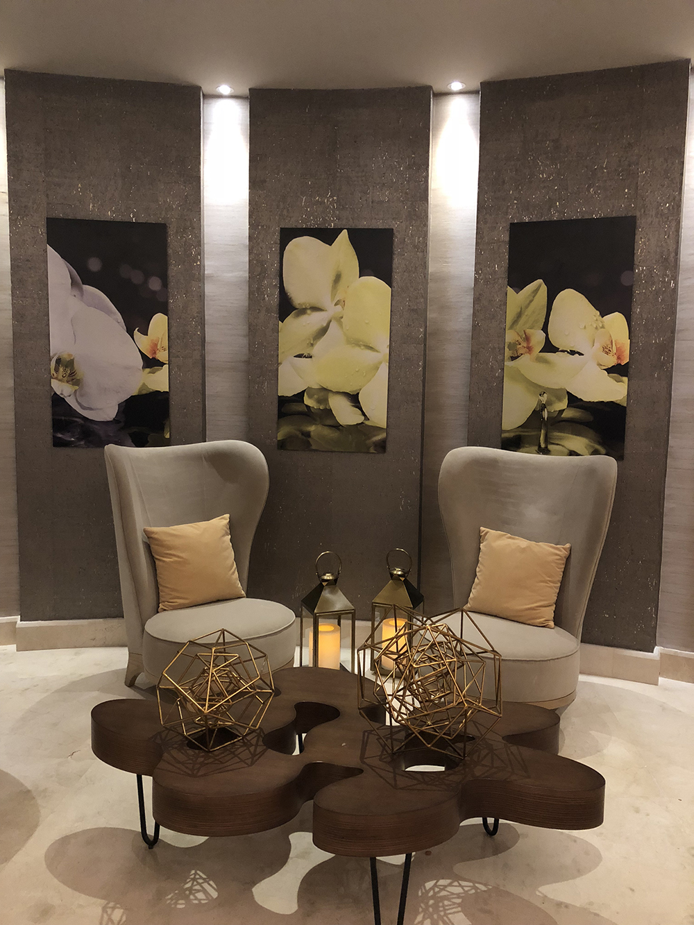 The elegantly decorated spa lounge area.