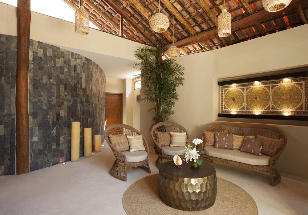 The lobby at Revive Spa at Mahekal Beach Resort in Playa del Carmen, Mexico.