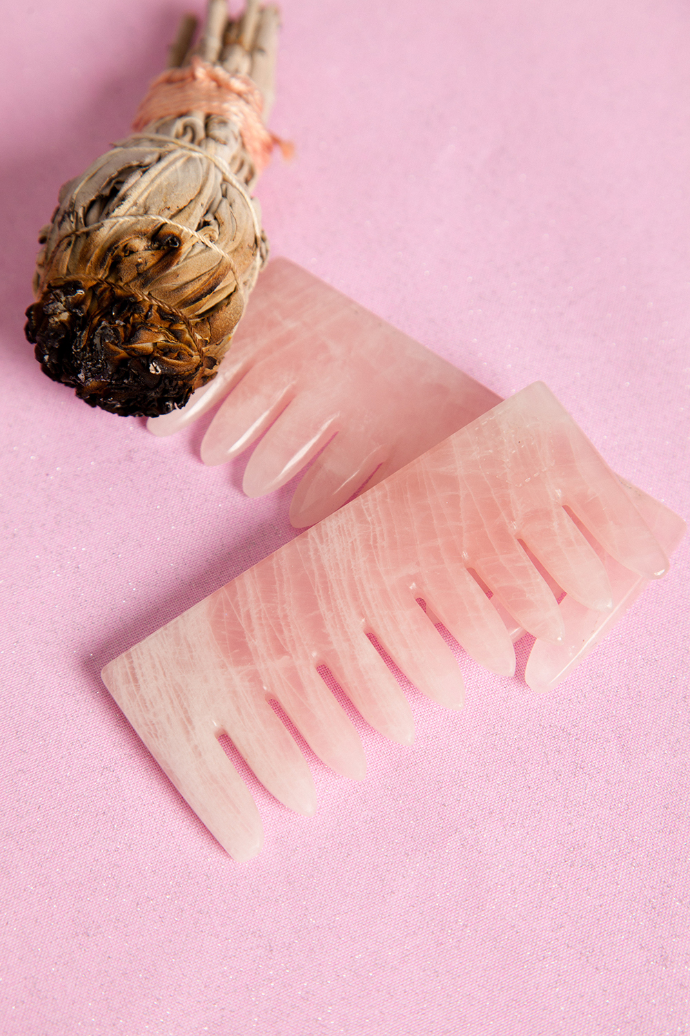 CrownWorks combs are available in 4 varieties, including rose quartz (pictured).