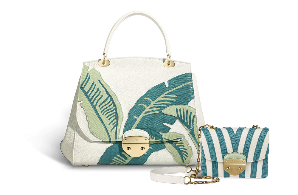 Asprey's SS'18 collection includes the hotel's signature banana leaf and striped Cabana prints.