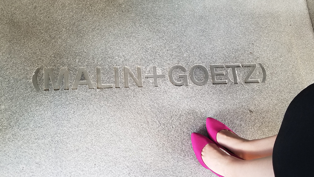 The entrance to Malin & Goetz in Century City, CA.
