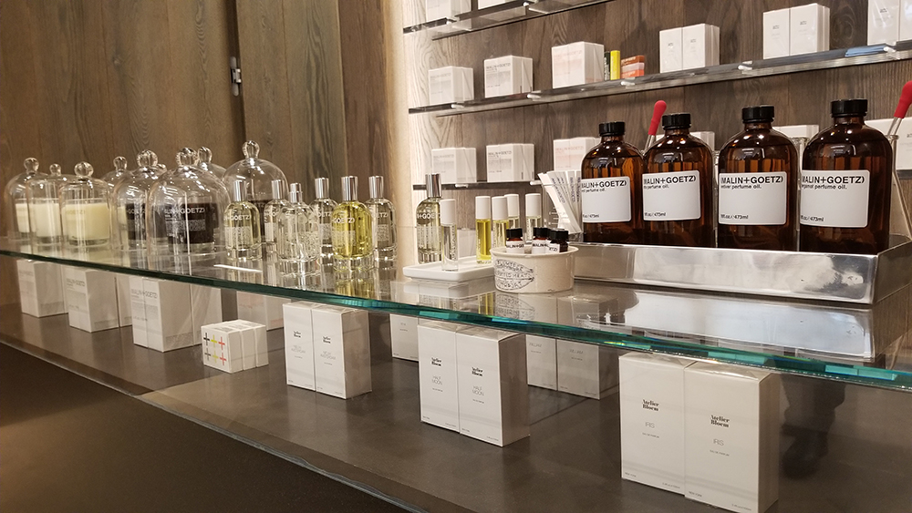 The fragrance and candle section of Malin & Goetz.
