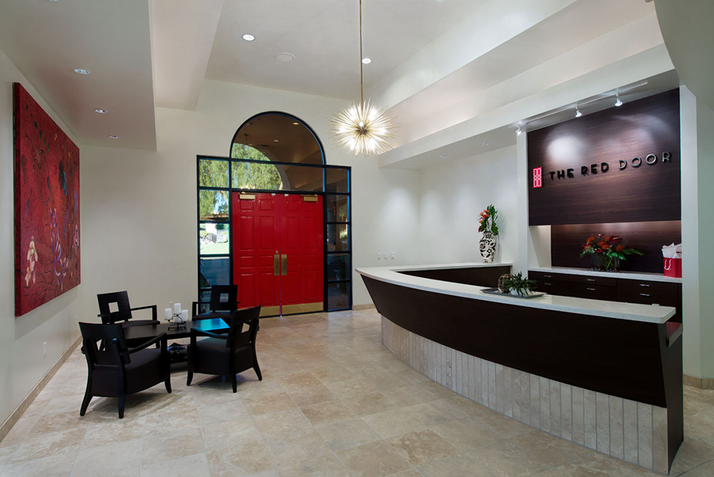The reception area of The Red Door Salon and Spa in Tucson, Arizona.