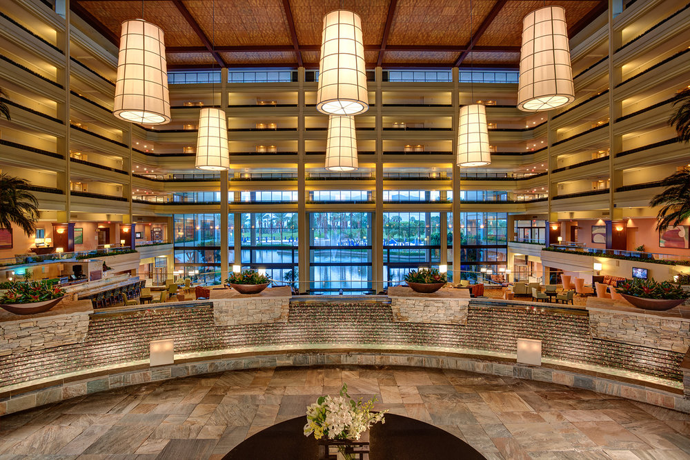 The stylish lobby greets guests at the JW Marriott Desert Springs.